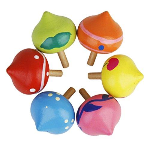 PriMI Creative Herzform Funny Holz Gyro peg-top Spinning Kid Educational Spielzeug (bunt)