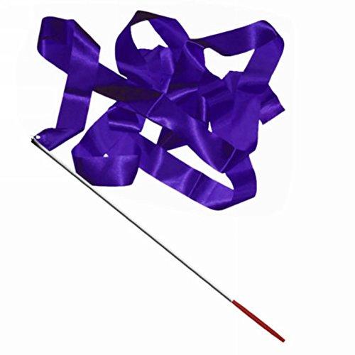 Mflbefulmel 4 m Bunte Tanzband Gym Rhythmische Kunst Gymnastik Streamer Wirling Stab Stick Hochzeit Band Stäbe Rhythmische Gymnastik Band Taktstock Wirling Stäbe auf Stäben violett