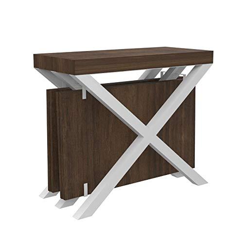 Ve.ca-italy tavolo consolle cross con porta prolunghe allungabile fino a 3 mt cucina, struttura in acciaio bianco, in 27 combinazioni colore, arredo cucina e casa (wengè)