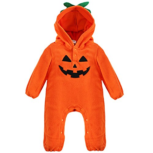 Tiaobug Baby Jungen Mädchen Bekleidung Winter Langarm Sweat Fleece Body Strampler Overall Weihnachten - Halloween Kostüm Jumpsuit Kleidung (80 (Herstellergröße: 90), Kürbis)