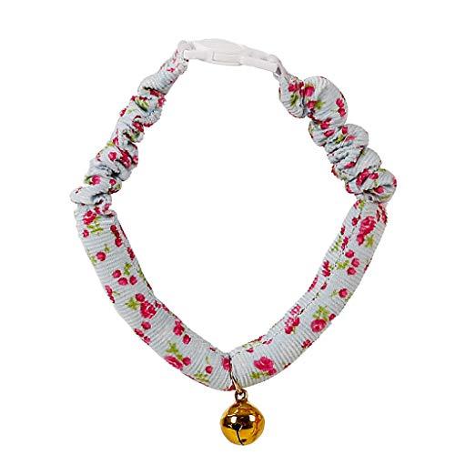 JIJI886 Hundehalsband Justierbarer Hundeleine Hundewelpen Klein floral Drucken Haustier Kragen Hund mit Bell Pet Halsband für Hunde und ()
