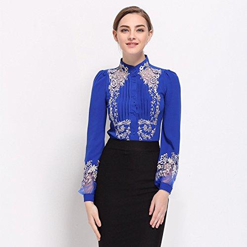 Lady 's Fashion Lounge Mantel, langärmliges Hemd Mantel,Blau,L - Womens Lounge L/s Shirt