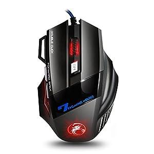 urchoiceltd® Estone X7Lasermaus 8D Optical 7Tasten USB Wired LED Laser Gaming Maus Mäuse für Pro Spiel Notebook PC Laptop Computer