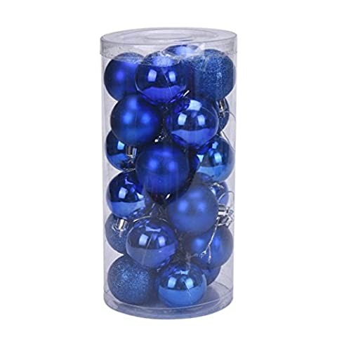 wuayi 24 Stücke Weihnachten 4 cm Kunststoff Home Party Weihnachtsbaum Ball Festival Anhänger Flitter Hängende Ornament (Blau)