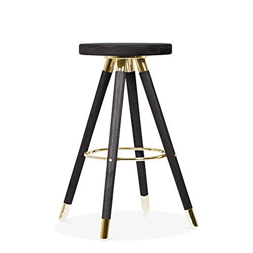 Cult Design Tabouret de Bar Moda CD2, Bois Massif, Noir 65cm