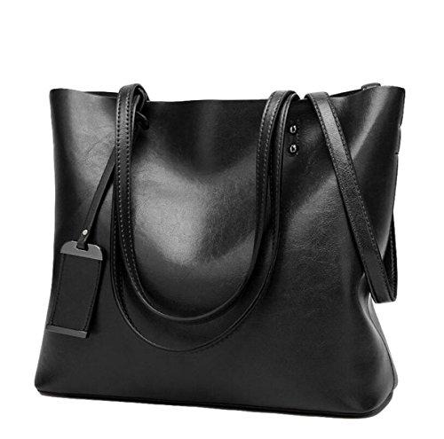 Damen-Mode Retro-Öl-Haut Große Kapazität Schultertasche Handtasche Kuriertasche Einfache Atmosphäre Black
