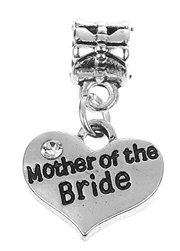 Mutter der Braut Strass Herz Anhänger Charm für Pandora Style Armbänder Damen Mädchen - Braut Der Mutter Hüte