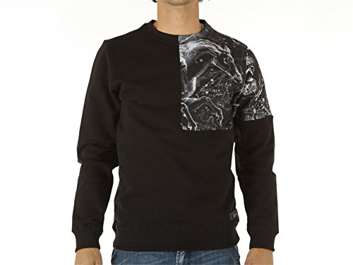 Iuter, Uomo, Printed Square Insert Crewneck Sweatshirt, Poliestere, Felpe, Nero, Nero, XL
