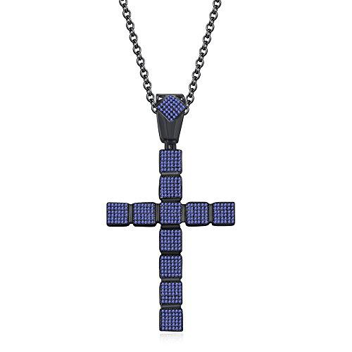 silvernshine Jewels 1,25ct rund Tansanit Kreuz Anhänger 45,7cm Kette Halskette in 14K schwarz gold FN (Kreuz Tansanit Halskette)