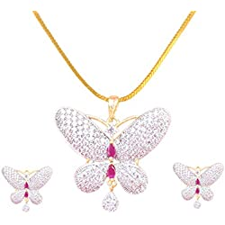 Sitashi Fashion Jewellery Gold Plated AD, American Diamond Butterfly Pendant Set for Girls and Women