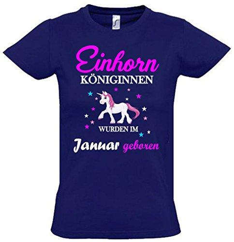 Einhorn Königinnen wurden im Januar geboren ! Unicorn NAVY, Gr.164cm (Mädchen Geboren T-shirt)