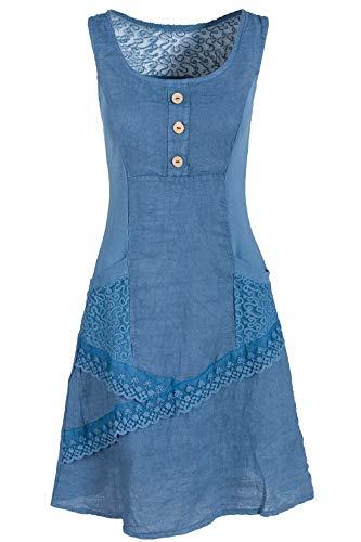 Italienische Mode GS-Fashion Leinenkleid Damen Sommer mit Spitze am Rücken KLeid ärmellos knielang Taubenblau 40 (Herstellergröße XL) Fashion Kleid