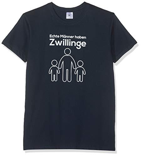 Texlab Echte Männer Haben Zwillinge - Herren T-Shirt, Größe XL, Navy