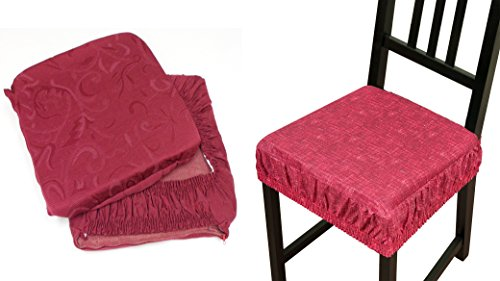 Takestop® set 6 coprisedia cuscini bordeaux con fascia elastico cuscino per sedie imbottito fodere sfoderabile trama casuale