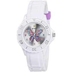 Tikkers Girl's Quartz Watch with White Dial Analogue Display and White Rubber Strap TK0052