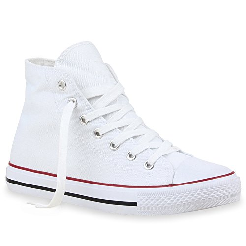 Stiefelparadies Damen Schuhe High Top Sneakers Sportschuhe Schnürer Kult 101625 Weiss Rot 41 Flandell
