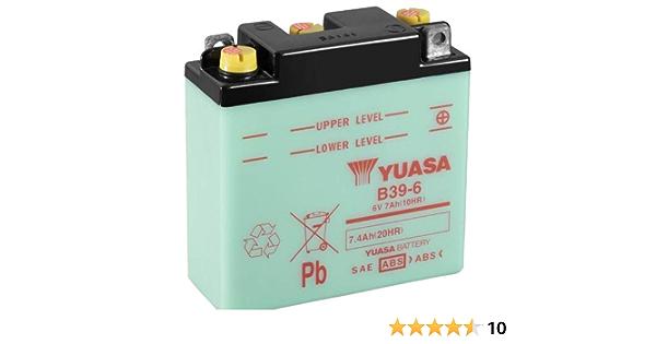 Motorrad Batterie Yuasa B39 6 Dc Offen Ohne Säure 6v 7ah 126x48x126mm Auto