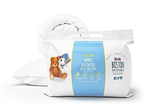 Boston Duvet & Pillow Company 7.5 Tog Kids single Bed Set, White, 2-Piece