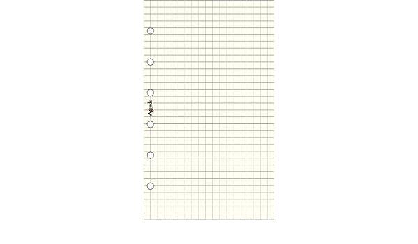 per agenda organizer 50 fogli 50 fogli Ricambio fogli a quadri AVORIO 7,7x12,7