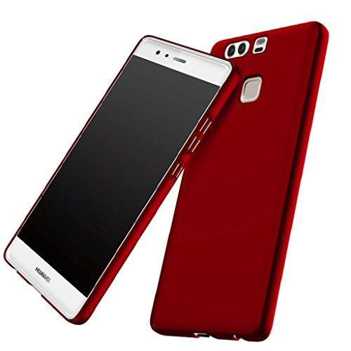 Apanphy Huawei P9 Hülle , Hohe Qualität Ultra Slim Harte Seidig Und Shell Volle Schutz Hinten Haut Fühlen Schutzhülle für Huawei P9, Rot