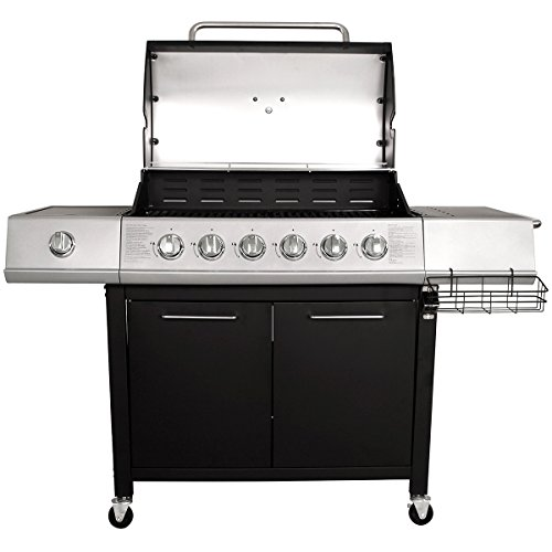 Charles Bentley 7 Burner Premium Gas Bbq Steel Barbecue With Wheels (6X Burner + 1X Side Burner) – Available In Black & Grey