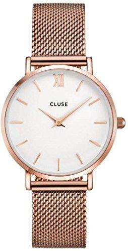 Cluse Damen-Armbanduhr Analog Quarz Edelstahl, roségold/weiß, CL30013