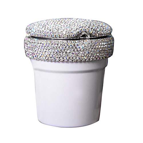 Preisvergleich Produktbild Sguan-wu Aschenbecher für die Reinigung von Zigarettenasche,  Tragbarer Auto Aschenbecher mit LED Licht Strass Zigarettenaufbewahrungs Getränkehalter White