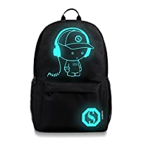 TUDUZ Cool Boys School Backpack Luminous School Bag Music Boy Backpack (Large)