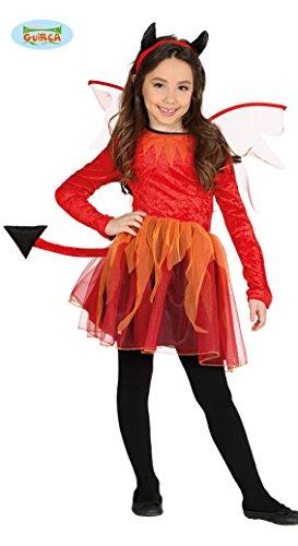 Guirca Teufel Kostüm mit Flügeln für Mädchen Halloween Rot Tutu Hörner Gr. 98-146, Größe:110/116