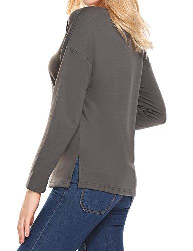 Damen Langarmshirt Shirt Oberteil T-Shirt Sweatshirt V Ausschnitt mit Schnürung Vorne Bluse Grau