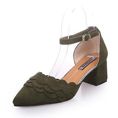 Sommer Schuhe Damen Sandalen Outddor Kleid Lässig-Vlies-Blockabsatz-T-Riemen-Schwarz Armeegrün Rosa Black