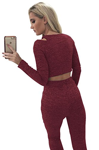 ALAIX Damen Zweiteilig Jumpsuit Longärmelig Bodycon Top+Stretch Hose Rot