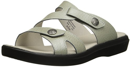 Propet St. Lucia Large Cuir Sandale Silver Emu
