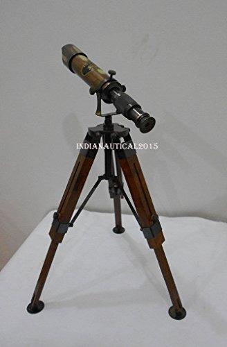 Hayah Teleskop mit Stativ, antikes Nachbildungssystem, Messing, mit Stativ, schönes Teleskop - Antikes Messing Stativ