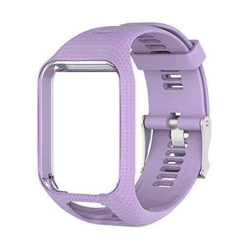 zerone cinturino orologio premium in silicone regolabile cinturino accessorio per orologio di ricambio regolabile per tomtom runner cardio spark(viola chiaro)