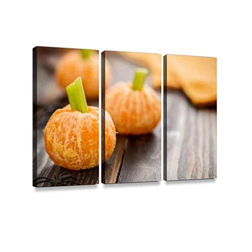 Gesundes Halloween-Essen - Tangerine Kürbisse Snack Kids Print auf Leinwand Wand Kunstwerk Moderne Fotografie Home Decor einzigartiges Muster gestreckt und gerahmt 3 Stück