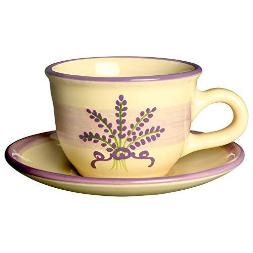 City to Cottage   Tasse et sous tasse à café, à thé   beige à motif lavande en céramique faite et peinte à la main   250ml