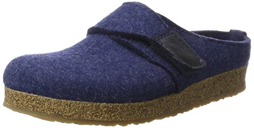 Haflinger Unisex-Erwachsene Grizzly Ole Hausschuhe, Blau (Jeans), 40 EU (Fußbett Blaue)