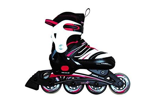 authentic sports & toys GmbH Verstellbarer Kinderinliner Inline-Skates, Schwarz/Weiß/Rot, 145 mm