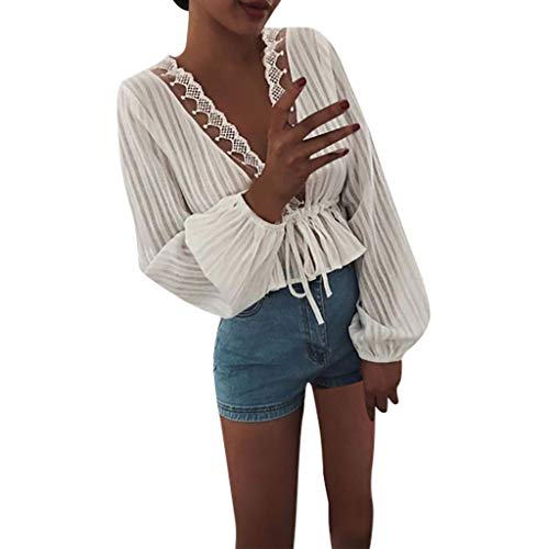 Clacce Damen T-Shirt Blusen Shirt Oberteile Tunika Tops Hemd Bluse Herbst mit Langen Ärmeln Tops Deep V Sexy Spitzenblusen (Shirt Nicht-religiösen)