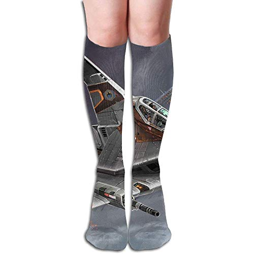 CVDFVFGB Planes Wars SciFi Art Women's Fashion Knee High Socks Casual Socks