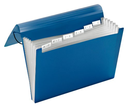 Carpeta archivadora tipo acordeón A4 6 compartimentos color azul transparente