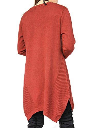 DSUK Damen Langarm Rundhals Striped Asymmetrischer Loose Tunika Pullover Sweater Kleid Brick Rot