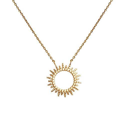 Smeraldo Accessories Vergoldete Damen Kette - Halskette mit Sonne - 18 kt vergoldet (Gelbgold) (Sonne Halskette)