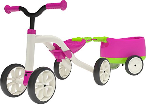 Chillafish Mädchen Vierrädriges Fahrzeug Quadie mit Trailer, rosa/weiss, One Size, CPQT01PIN