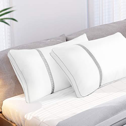 BedStory [Nuova Versione] Cuscini Letto Coppia 42x70cm Antiacaro, Guanciali Letto Coppia in Fibra di Poliestere 3D, Coppia di Cuscini per Letto Hotel Divano