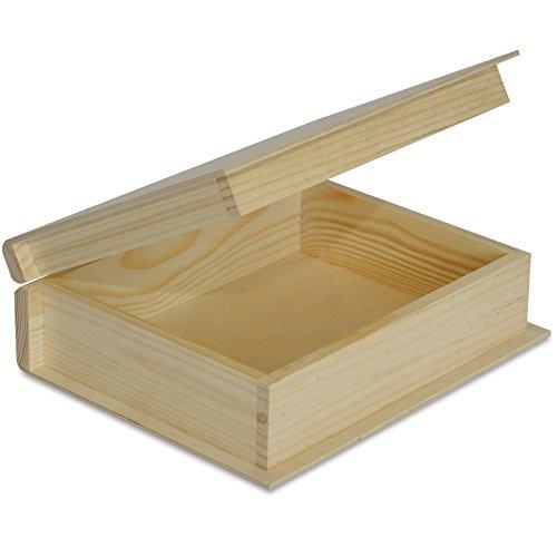 Creative Deco Petite Boîte de Livre de Rangement en Bois | 24 x 19 x 7,5 cm | Non Peinte Caisse a Decorer | Parfait pour Documents, Objets, Jouets et Outils
