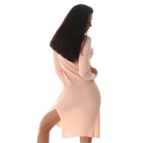 Femmes Voyelles cardigan veste boutons robe robe pull longueur chandail à manches longues Cape du genou Rose