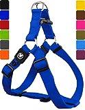 DDOXX Hundegeschirr Step-In Nylon in vielen Farben & Größen für kleine, mittelgroße & große Hunde | Geschirr Hund klein groß verstellbar | Brustgeschirr Welpen Auto | Blau, M