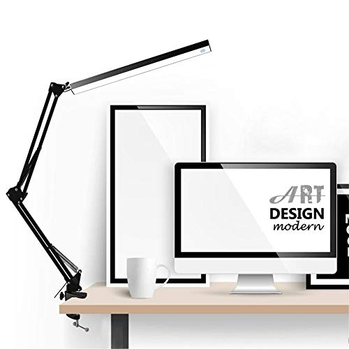 LED Tischlampe Aluminiumlegierung Folding Clip-on USB LED Tischlampe Long Arm Touch Control Dimmbar@Schwarz_Australien